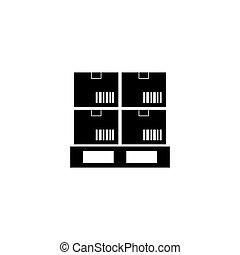 cargaison, plat, palette, boîtes, vecteur, icône
