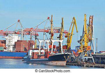 cargaison, pont, grue, masse, sous, bateau, port