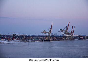cargaison, port, harbor., fret, business, essence, docks., expédition, commercer, exportation, réservoirs, importation, bateau, logistic., récipients