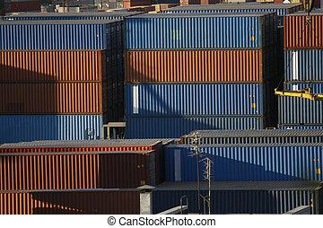 cargaison, port, récipients