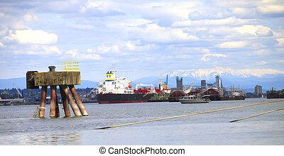 cargaison, &, port, ship.