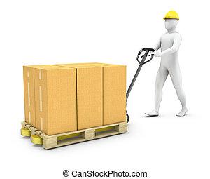 cargaison, résumé, ouvrier, fiche palette, mouvements