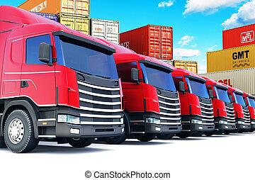 cargaison, rang, mer, camions, port