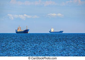 cargaison, roadstead, bateaux