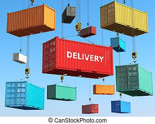 cargaison, secteur, concept., stockage, expédition, livraison, fond, forklifts., récipients