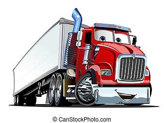 cargaison, semi, isolé, camion, fond, blanc, dessin animé