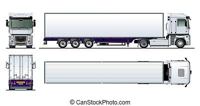cargaison, semi, isolé, vecteur, camion, gabarit, blanc