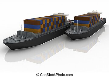 cargaison, ships., illustration., render, 3d