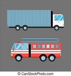 cargaison, silhouette, logistique, urgence, transport, brûler, alarme voiture, isolé, illustration, vecteur, camion, jeûne, expédition, véhicule, fourgon, dessin animé, transport