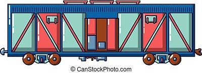 cargaison, style, train chariot, icône, dessin animé