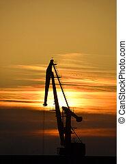 cargaison, sur, ciel, coucher soleil, fond, grue, port