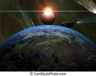 cargaison, sur, lune, la terre, bateau, levers de soleil