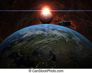 cargaison, sur, système, lune, levers de soleil, la terre, bateau, rouges