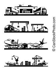 cargaison, terminaux, transport