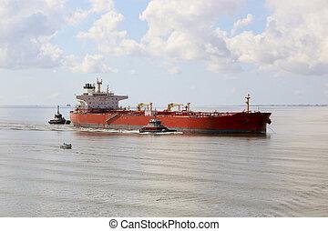 cargaison, touriste, 2, bateaux, bateau, bateau