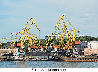 cargaison, traine, charbon, bateau, fret, grue, port