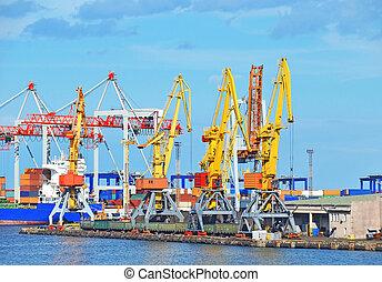cargaison, traine, charbon, fret, grue, port