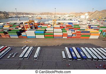 cargaison, transport, autobus, expédition, au-dessus, port, récipients, vue
