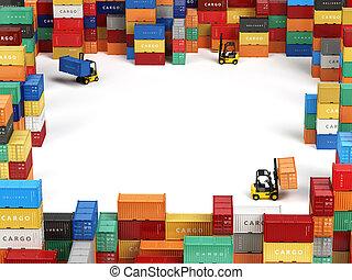 cargaison, transport, espace, stockage, concept., secteur, text., expédition, livraison, forklifts, récipients