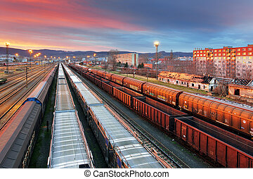 cargaison, transport, -, train