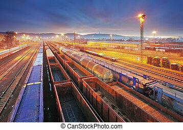 cargaison, transport, transit, -, plate-forme, train, fret