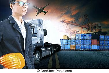 cargaison, usage, business, fonctionnement, industrie, expédition, logistique, fret, port, homme