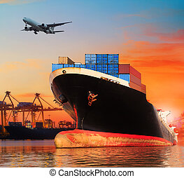 cargaison, usage, business, industrie, commercial, bic, importation, vaisseau, bateau, jetée, port, transport