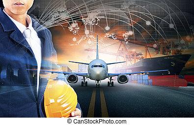 cargaison, usage, chargement, récipient, fond, business, jetée, industrie, -, air, aéroport, avion, exportation, fret, importation, bateau, approche, logistique, transport