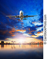 cargaison, usage, comercial, business, port, industrie, voler, -, air, port, avion, exportation, fret, importation, bateau, sur