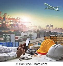 cargaison, usage, industriel, récipient, business, ...