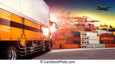 cargaison, usage, récipient, au-dessus, voler, expédition, indutry, dock, avion, camion, logistique, transport, fret, port