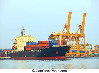 cargaison, usage, récipient, expor, commercial, importation, bateau, port