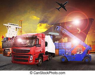 cargaison, usage, récipient, transport, industrie, -, expédition, exportation, fret, importation, camion, port