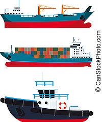 cargaison, vaisseaux, et, remorqueur