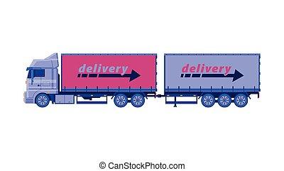cargaison, vecteur, camion, transport, caravane, transport, plat, véhicule, illustration, expédition, livraison