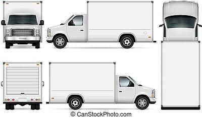 cargaison, vecteur, fourgon, illustration.