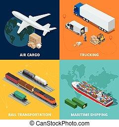 cargaison, vecteur, on-time, rail, logistic., meritime, camionnage, ensemble, logistique, isométrique, transport, réaliste, air, livraison, delivery., shipping., icônes, illustration.