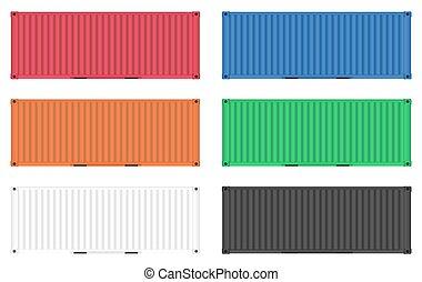 cargaison, vecteur, récipient, coloré