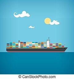 cargaison, vecteur, récipient, illustration, bateau