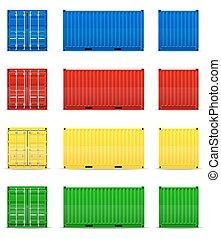 cargaison, vecteur, récipient, illustration
