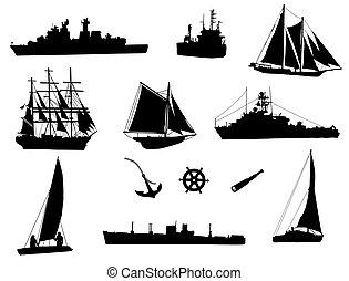 cargaison, vieux, mer, bateaux