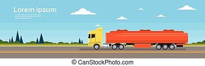 cargaison, voiture, expédition, camion livraison, route
