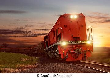 cargaison, voitures, train, charbon, porter, fret