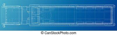 cargaison, vue., industriel, tipper., créé, sommet, ligne, illustration, delivery., wire-frame., vecteur, camion, machinerie, construction, 3d., constitué, style.
