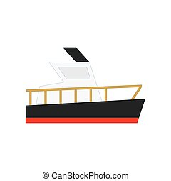 cargaison, yacht, plat, bateau, illustration, ship., vecteur, conception