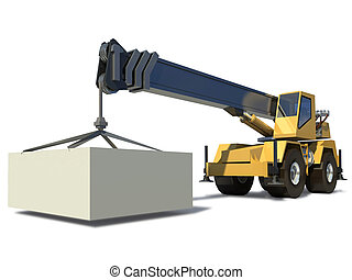 cargamaento, carga, jib, fondo., móvil, drawing., crane., listo, blanco, grúa
