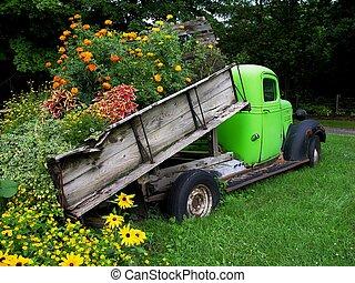 cargamaento, flores, camión