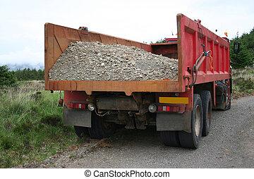 cargamaento, grava, camión