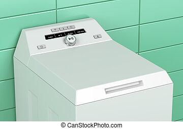 cargamaento, máquina, cima, lavado