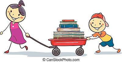 cargamaento, vagón, niños, libros, tirar, palo